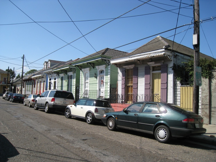 "a street of ""shot gun"" homes in New Orlean"